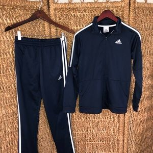 Adidas tracksuit set navy blue kids L
